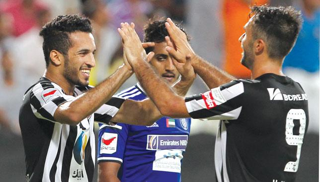 Double trouble: Al Jazira's strikeforce of Ali Mabkhout (l) and Mirko Vucinic.
