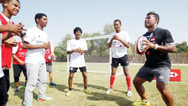 Watch and learn: Serevi held a coaching clinic with Emiratis last week.