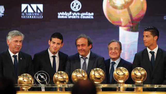 Golden Boys Real Madrids Carlo Ancelotti James Rodriguez Florentino Perez And Cristiano Ronaldo All Received Awards