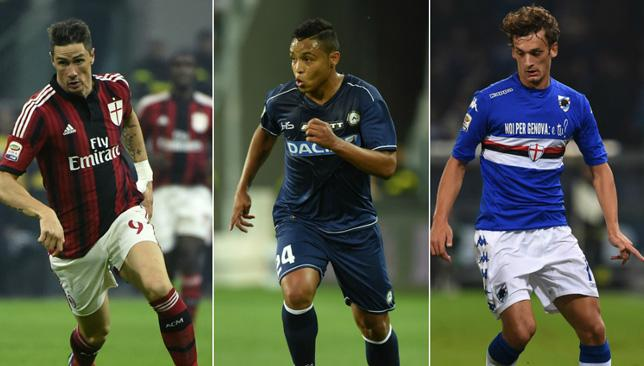 Fernando Torres, Luis Muriel and Manolo Gabbiadini could all be playing their football elsewhere after the January transfer window.