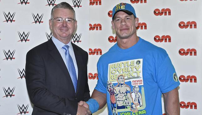 WWE Superstar John Cena (R) with OSN CEO David Butorac (L).