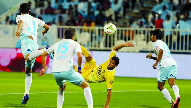 To the rescue: Ederson (yellow) crashed in an injury time equaliser to deny Bani Yas a first win since February 8.