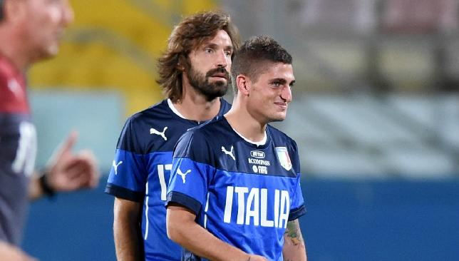Verratti (r) has been labelled as Pirlo's long-term replacement for Italy.