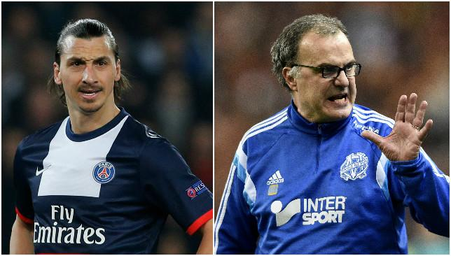 High stakes: Zlatan Ibrahimovic (L) and Marcelo Bielsa (R).