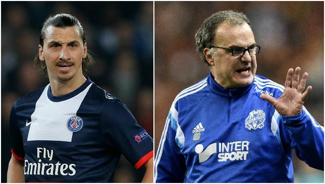 High stakes: Zlatan Ibrahimovic (L) and Marcelo Bielsa (R).