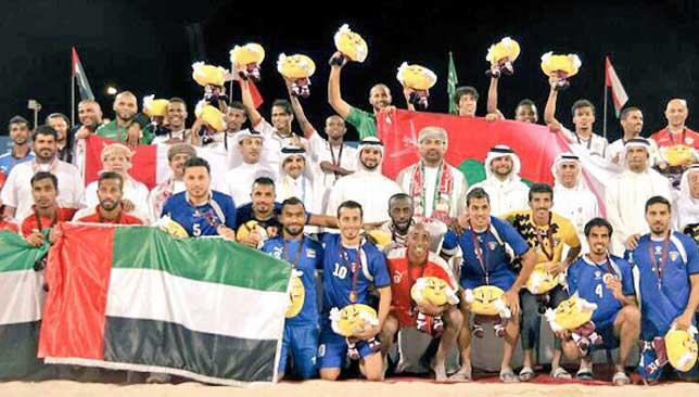 The GCC countries celebrate at the end of the football.