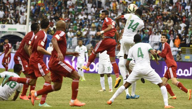 The UAE (red) narrowly lost to Saudi Arabia at the Gulf Cup.