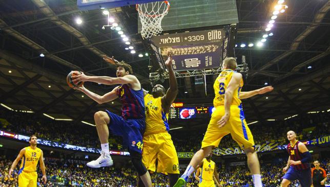 Rising: Barcelona's basketball team have a strong fan base, including stars like Neymar.