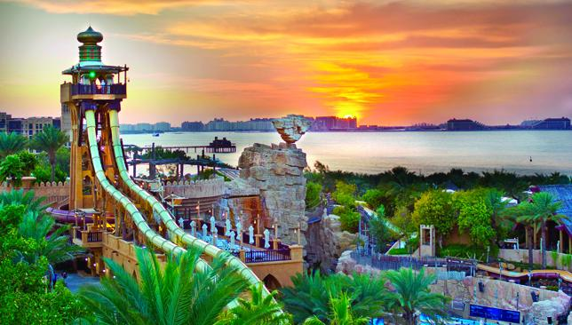 Sunset over The Palm: The backdrop to Wild Wadi.