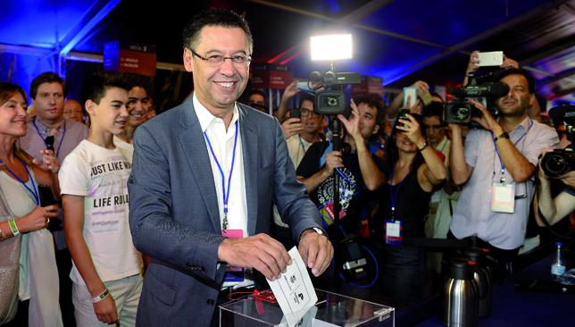 Reign continues: Josep Maria Bartomeu beat main rival Joan Laporta by over 10,000 votes.