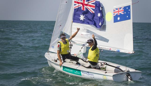 Australia's Mat Belcher and Will Ryan celebrate World Cup gold in the Men's 470.