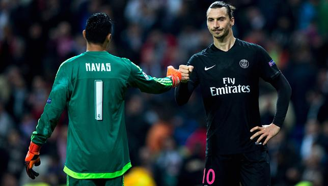 Hard luck: Keylor Navas (l) and Zlatan Ibrahimovic.