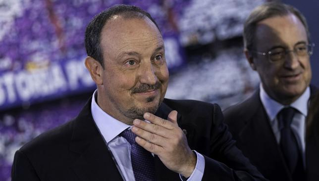 Full backing: Rafael Benitez (l) and Florentino Perez.
